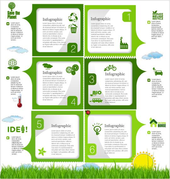 Modern ecology infographics green template vector 14