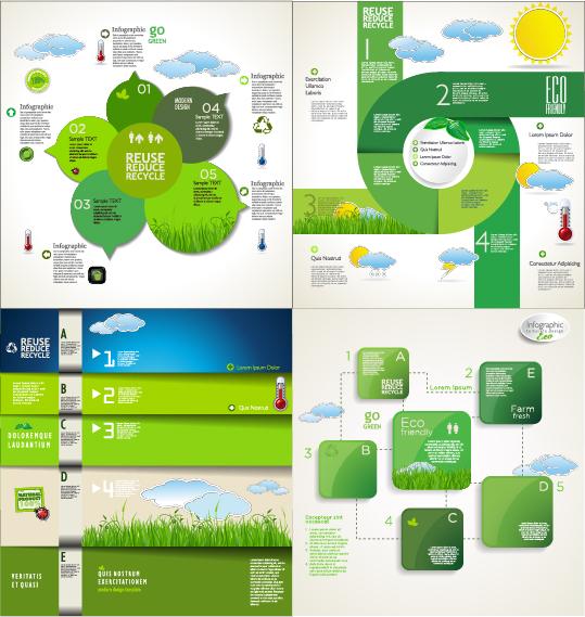 Modern ecology infographics green template vector 16