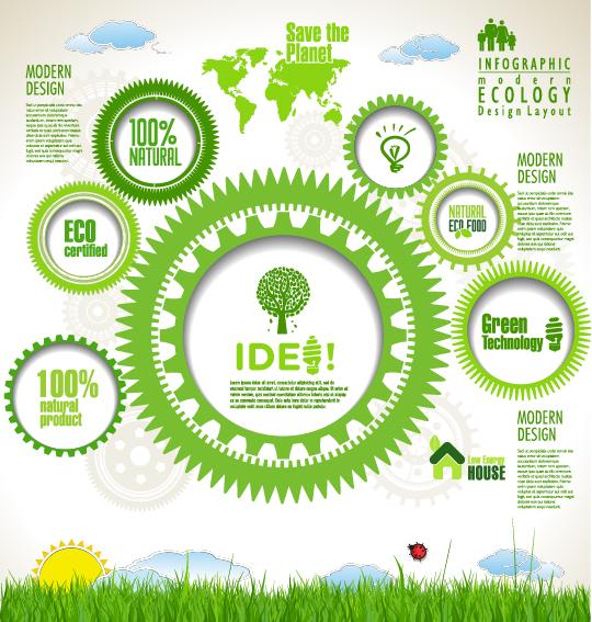 Modern ecology infographics green template vector 17