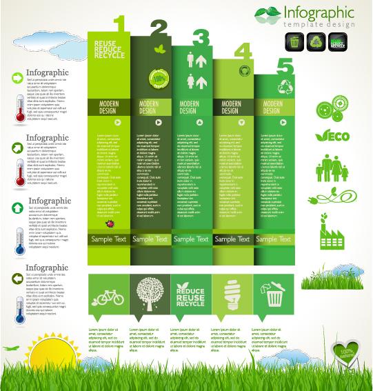 Modern ecology infographics green template vector 19