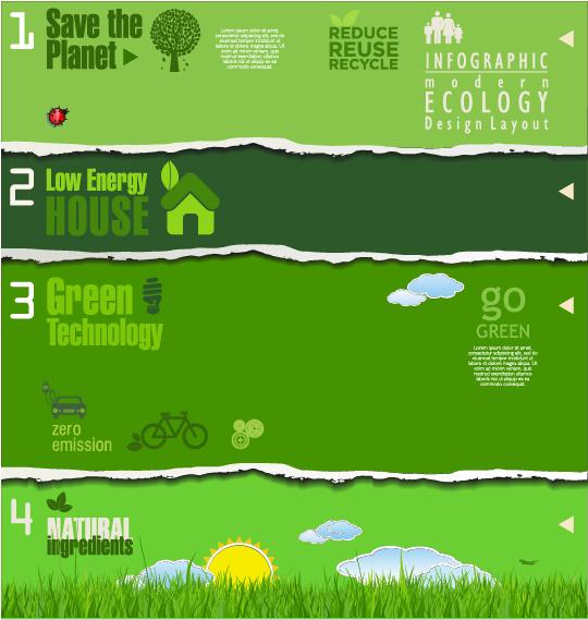 Modern ecology infographics green template vector 20