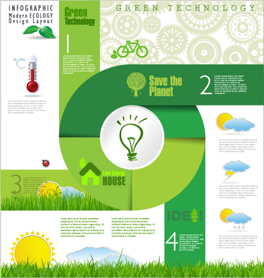 Modern ecology infographics green template vector 22