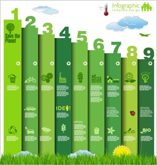 Modern ecology infographics green template vector 24