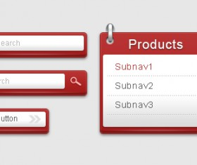 Navigation button with search box psd