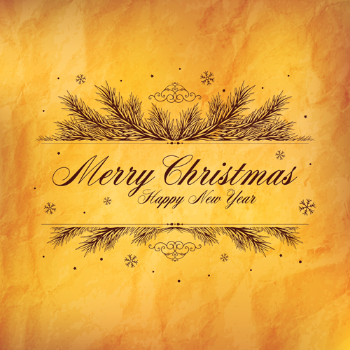 old yellow paper christmas with new year background