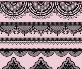 Ornate lace border design vector set 01