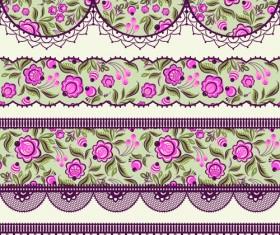 Ornate lace border design vector set 03