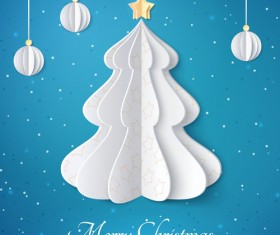 Paper christmas tree with baubles vector background