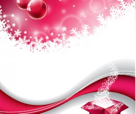 Pink red christmas baubles with background vector 01