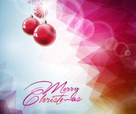 Pink red christmas baubles with background vector 02