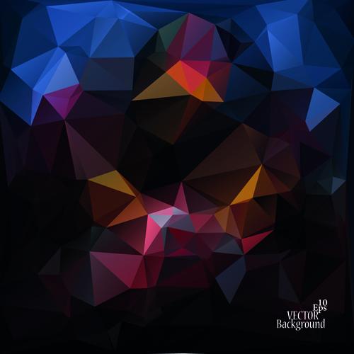 Polygonal geometric dark background vector 01