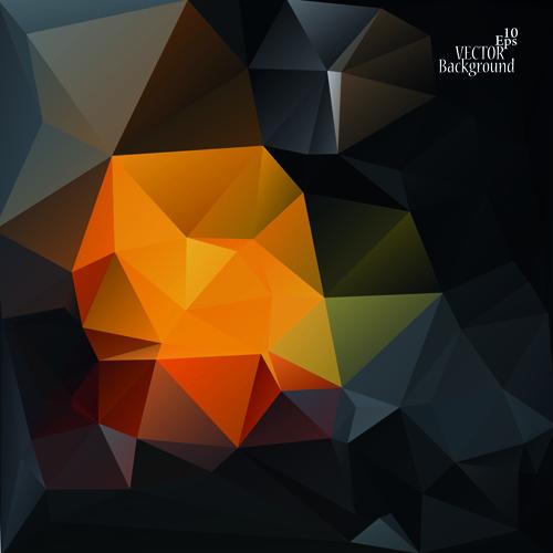 Polygonal geometric dark background vector 02