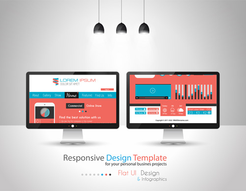 Realistic devices responsive design template vector 01