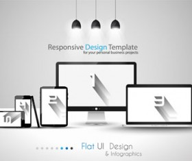 Realistic devices responsive design template vector 04