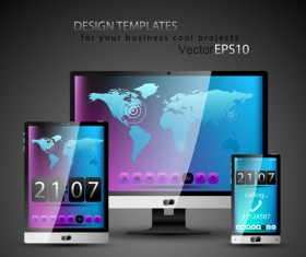 Realistic devices responsive design template vector 05