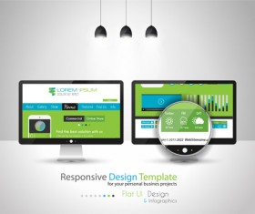 Realistic devices responsive design template vector 06