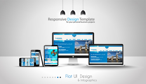 Realistic devices responsive design template vector 07