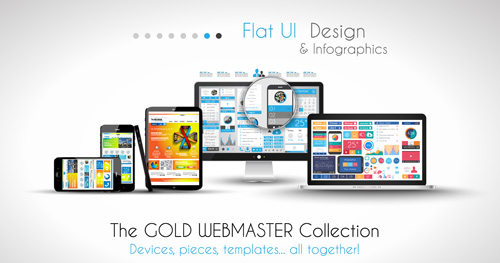 Realistic devices responsive design template vector 09