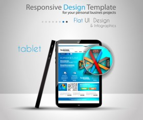 Realistic devices responsive design template vector 14