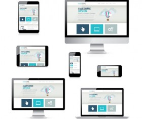 Realistic devices responsive design template vector 16