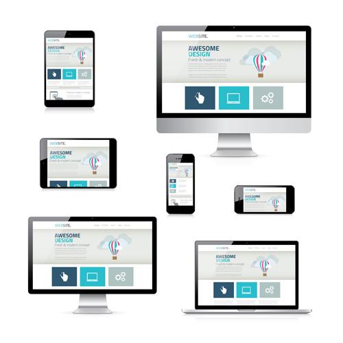 Responsive Design Templates   Realistic Devices Responsive Design Template Vector 16 Free Download