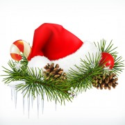 Link toRed christmas hats and needles vector illustration
