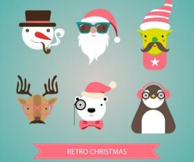 Retro christmas head portrait vector