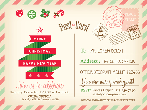 Retro christmas postcard vector template 01