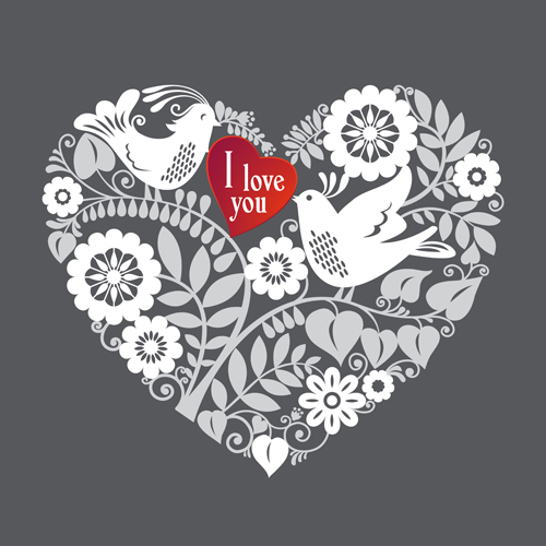 Romantic birds with floral hearts vector 01