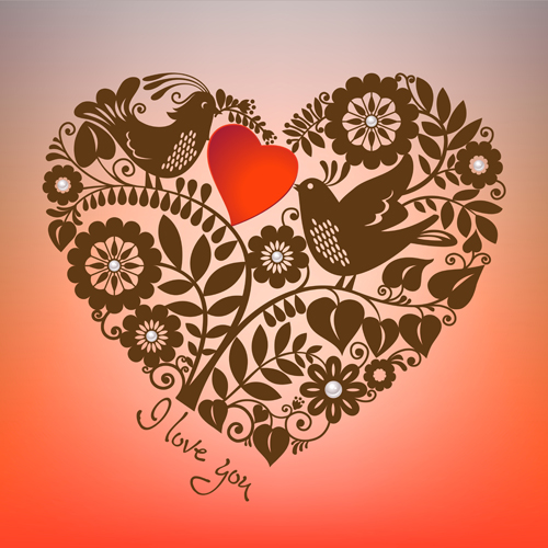 Romantic birds with floral hearts vector 03