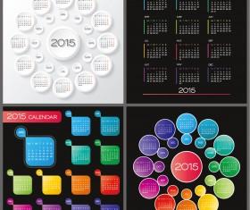 Round with gird 2015 calendars vector design
