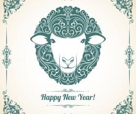 Sheep new year 2015 retro vector background 01