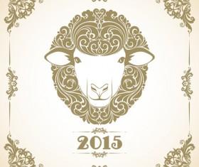 Sheep new year 2015 retro vector background 02