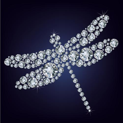 Shiny diamonds dragonfly vector
