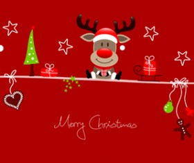 Snowman santa with reindeer red christmas background
