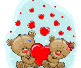 Teddy bear with red heart vector cards 01