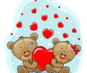 Teddy bear with red heart vector cards 01