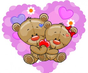 Teddy bear with red heart vector cards 03