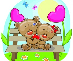 Teddy bear with red heart vector cards 04