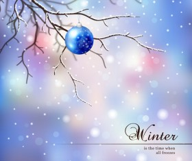 Tree branch and blurs winter background vector 01