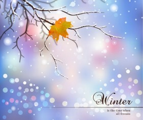 Tree branch and blurs winter background vector 02