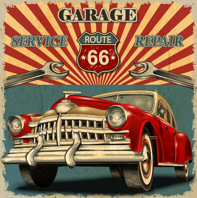 Vintage Car Poster Grunge Style Vector 04 Vector Car