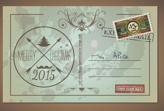 Vintage merry christmas postcard vectors tamplate 05