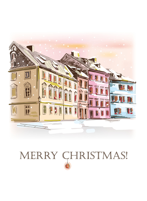 Winter houses christmas vector background 02