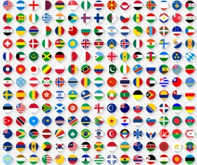 World flags round icons vector material