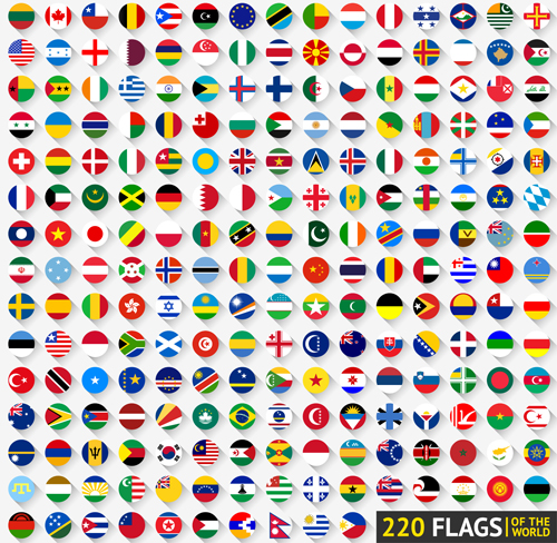 World Flags Round Icons Vector Material Other Icons