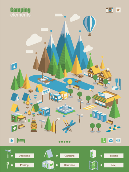 camping elements business template vector
