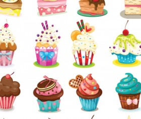 Vector Cartoon cupcakes icons