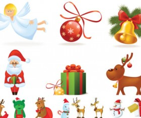 Cartoon Santa Claus icons vector clipart