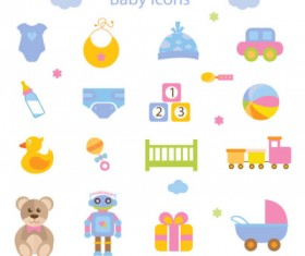 16 baby toy icon vector